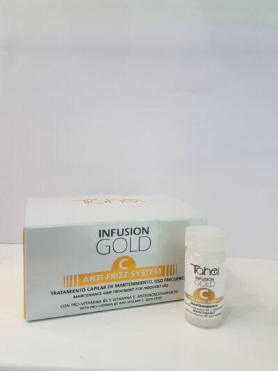 Anti-frizz HAIR TREATMENT INFUSION GOLD C 5×10 ml-Антифриз система за честа употреба Про-витамин В5 и витамин Е.