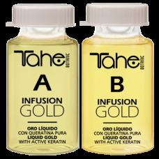 TAHE infusion gold A+B anti-frizz sistem 2x10ml -Терапия с ампули за къдрава коса
